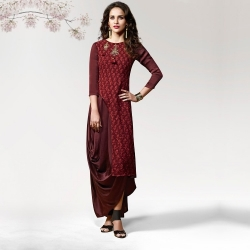 Stylish Side Pleated Layered Silk Crape Designer Kurta