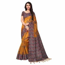 Kashmiri Poly Silk Printed Saree With Blouse