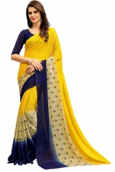 Yellow Chiffon Printed Weightless Saree With Blouse