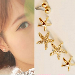 Three-piece Starfish Stud Earrings 3 set