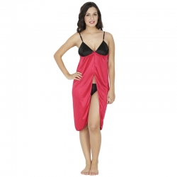 Littledesire Black and Red Satin Sleepwear