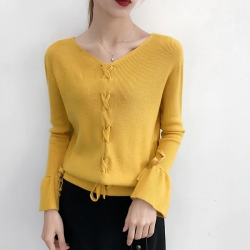 Knitting Pullover Fashion Lace up Autumn Winter Sweater Top