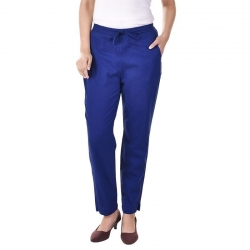Littledesire Women Cotton Slub Best Stylish Blue Trouser