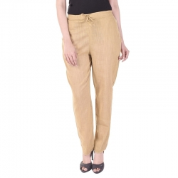 Littledesire Women Cotton Slub Best Stylish Beige Trouser