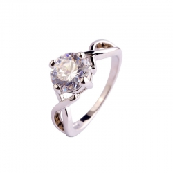 Littledesire White Topaz CZ Silver Plated Ring