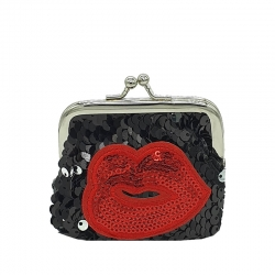 Red Lip Sequins Handy Clutch Mini Wallet - 3.5 inch