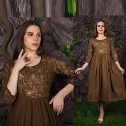 Littledesire Stylish Gold Printed Kurta
