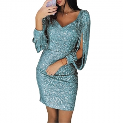 Littledesire V-Neck Sequins Tassel Long Sleeve Slim Dress