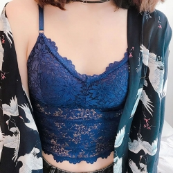 Littledesire V- Neck Floral Lace Bralette Padded Crop Top