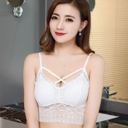 Littledeire Floral Lace Cross Bandage Bralette Padded Crop Top