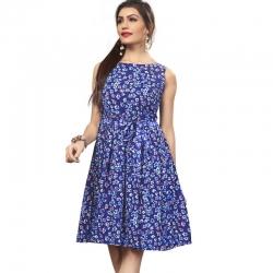 Littledesire Boat Neck Floral Print Blue Crepe Dress