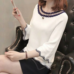 Littledesire O-Neck Bell Sleeves White Sweater Top