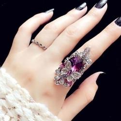 Littledesire Fashion Jewelry Butterfly Rhinestone Ring 2-Piece
