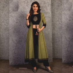 Littledesire Embroidered Crop Top With Bottom & Shrug Kurta