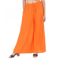 Littledesire Orange Straight Palazzo With Side Pocket
