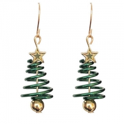 Trendy Star & Spring Christmas Tree Dangle Earrings