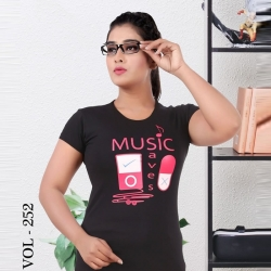 Littledesire Printed Cotton Half Sleeve Black T-Shirt