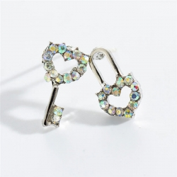 Classic Crystal Heart Lock & Key Shape Earrings