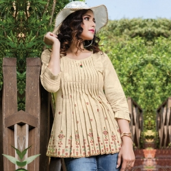 Embroidered Round Neck Flared Short Kurti Top