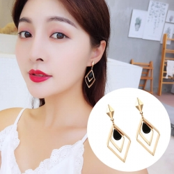 Square Elegant Geometric Black Crystal Earrings