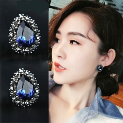 Water Drop Blue Rhinestone Earrings