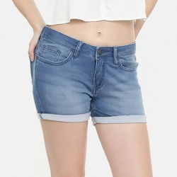 Mid-Rise Blue Denim Frayed Hems Shorts