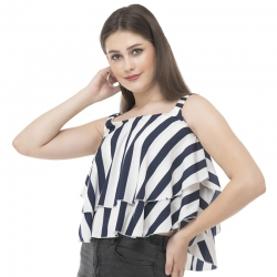 Stripes Frills Sleeveless Tiered Ruffle Top