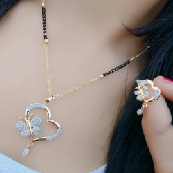 Beautiful Alloy CZ Golden Plated Heart Shape Mangalsutra & Earrings Set