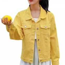 Full Sleeves Comfort Fit Regular Denim Turn-Down Jacket for Women