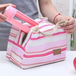 Color Stripe Portable Insulated Canvas Tote Lunch Bag