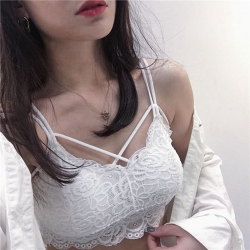 Lace Design Cross Stripes Bralette Padded Crop Top
