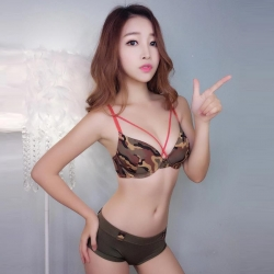 Army Print  Two Piece Cross Stripes Swimwear Bikini Sexy Set