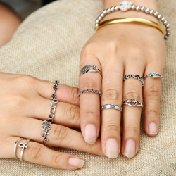 Vintage Moon Flower leaf Ring 11Pcs/Set