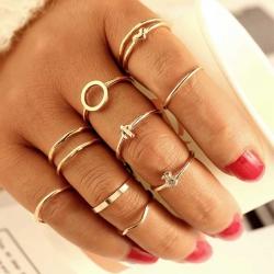 11 Pcs/Set Vintage Ring Geometric Metal Ring Set