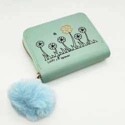 Lucky Forever Print Mini Purse PU Leather Zipper Wallet