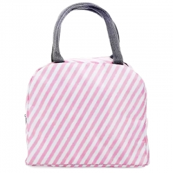 Stripe Print Insulated Oxford Portable Lunch Thermal Bags