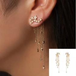 Fashion Star Women Crystal Long Tassel Drop Earrings