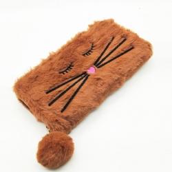 Faux Fur Cat  Design Zipper Clutch Wallet