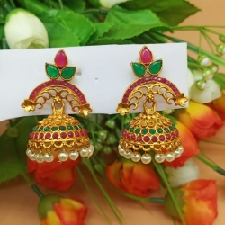 Red & Green Stone Pearls Jhumka Earrings