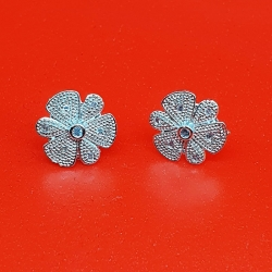 Silver Color Zircon Flower Earrings