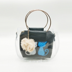 Cat Print Pom-Pom Fur Ball Transparent Shoulder Sling Bag