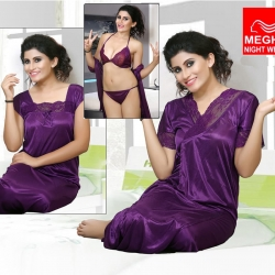 Soft Silky Satin Nighty With Robe 4 Pcs Set