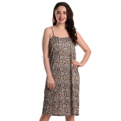 Leopard Print Sleepwear Dress With Panty