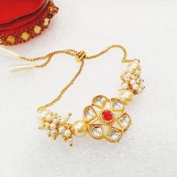 Classic Pearl Studded Moti Bracelet Rakhi
