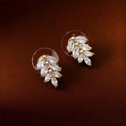 Crystal Leaf Stud Luxury Earrings