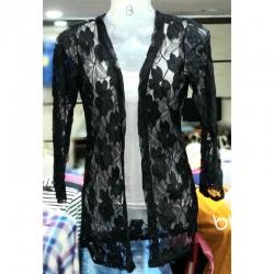 Long Sleeves Floral Net Black Shrug