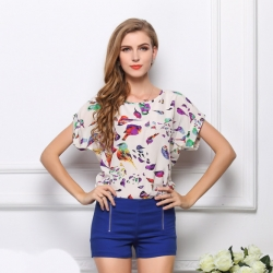 Colorful Birds Chiffon Batwing Loose Top