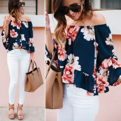 Off Shoulder Floral Print Butterfly Slash Neck Top
