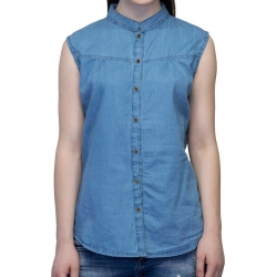 High Neck Front Buttoned Soft Denim Top