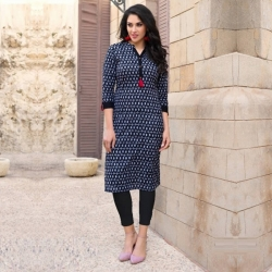 Denim Blue Heavy Printed Cotton Designer Kurta